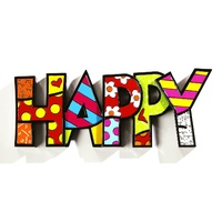 Romero Britto Large Decor Words - Happy