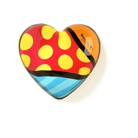 Romero Britto Glass Heart Paperweight Yellow Dots