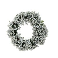 Raz Ornament - Beaded Berry Candle Ring White/Silver 6.5""