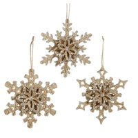 Raz Hanging Ornaments - Set Of 3 Snowflake Ornaments Gold