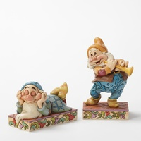 Jim Shore Disney Traditions - Sleepy And Happy Figurine Zzzzz Cheerful Note figurines Set of 2