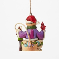 PRE PRODUCTION SAMPLE - Heartwood Creek Hanging Ornament Collection  - Mini Christmas Cat with Bird