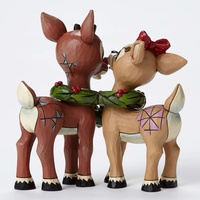Jim Shore Rudolph Traditions - Rudolph and Clarice with Wreath Figurine