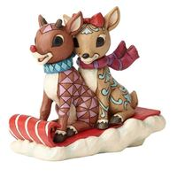 Jim Shore Rudolph Traditions - Rudolph and Clarice Sledding