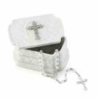 DEMDACO Baby Tender Blessings - Bless This Child Keepsake Box with Rosary Beads