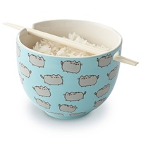 Pusheen Rice Bowl With Chopsticks
