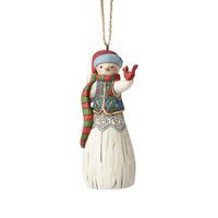 Folklore By Jim Shore - Snowman with Cardinal Hanging Ornament