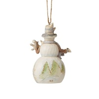 Heartwood Creek White Woodland - Snowman with Animals Hanging Ornament
