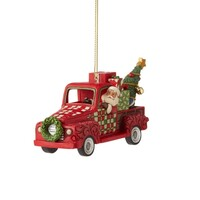 Country Living by Jim Shore - Santa in Red Truck Hanging Ornament
