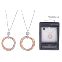 Equilibrium Diamond 3 Ring Necklace - Rose Gold
