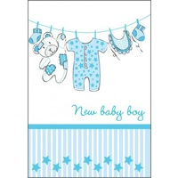 Greeting Card - New Baby Boy - Clothesline with stripes
