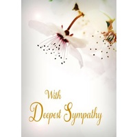 Greeting Card - With Deepest Sympathy - White Flowers