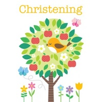 Greeting Card - Christening - Bird in tree