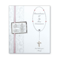 Communion Keepsake Card with Pink Ribbon