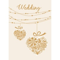 Greeting Card - Wedding - Gold Hearts