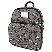 Loungefly Disney Mickey Mouse - Plane Crazy Mickey Black & White Mini Backpack