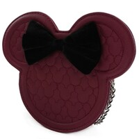 Loungefly Disney Minnie Mouse - Burgundy Quilted Silhouette Head Crossbody Bag