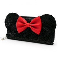 Loungefly Disney Minnie Mouse Black Sequin Zip-Around Wallet
