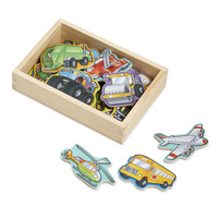 Melissa & Doug Magnetic Learning - 20 Wooden Vehicle Magnets