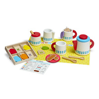 Melissa & Doug Kitchen Play - Wooden Steep & Serve Tea Set