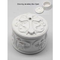 Jewellery Box With Cross - White