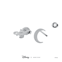 Disney x Short Story Earrings Genie's Lamp and Moon - Silver