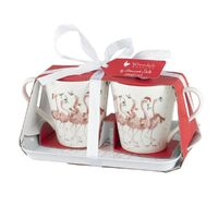 Wrendale Christmas Mug & Tray - Flamingle Bells