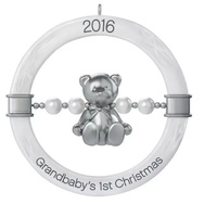 2016 Hallmark Keepsake Ornament - Grandbaby's First Christmas Teddy Bear Rattle