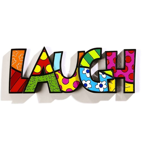 Romero Britto Large Decor Words - Laugh