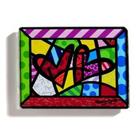 Romero Britto Glass Magnet - Double Hearts