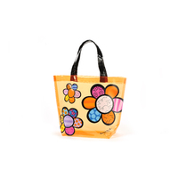 Romero Britto Tote Bag - Orange with Flowers