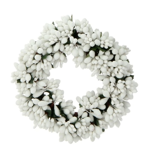 Raz Ornament - Beaded Berry Candle Ring White 6.5""