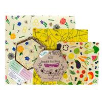 Buzzee Organic Beeswax Reusable Food Wraps - Multi (3 Pack)