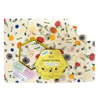 Buzzee Organic Besswax Reusable Food Wraps - Bees At Work (4 Pack)