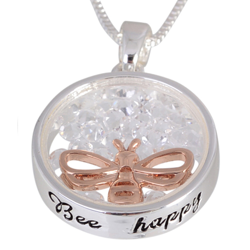 Equilibrium Crystal Sentiment Necklace - Bee Happy