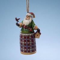 Heartwood Creek Classic - Santa With Cardinal & Birdhouse Hanging Ornament