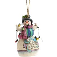 Heartwood Creek Hanging Ornaments - Snowman Wrapped Up in Lights