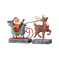 Heartwood Creek Classic - Mini Santa In Sleigh with Reindeer