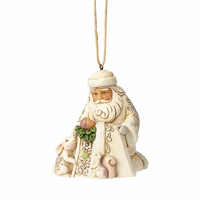 Heartwood Creek Hanging Ornament Collection - White Woodland Santa With Baby Jesus