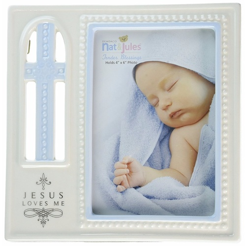 Nat & Jules Tender Blessings - Jesus Loves Me Photo Frame - Blue