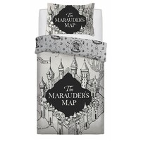 Harry Potter Quilt Cover Set - Single - Marauders Map