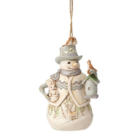Heartwood Creek White Woodland Collection - Snowman with Birdhouse Hanging Ornament
