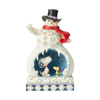 Jim Shore Snoopy - Snowman With Snoopy Scene Lights Up (Peanuts Collection)