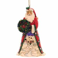 Heartwood Creek Hanging Ornaments - Santa with Wreath & Scene