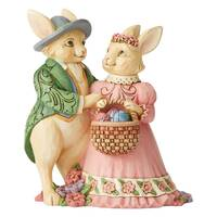 Jim Shore Heartwood Creek - Easter Collection - Bunny Couple With Basket