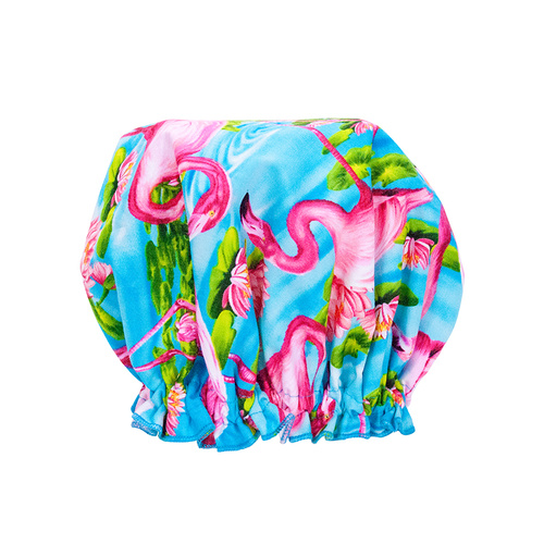 Fabric Shower Caps - Flamingo