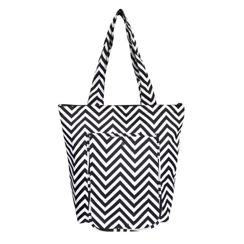 Sachi Insulated Folding Market Tote - Chevron Stripe