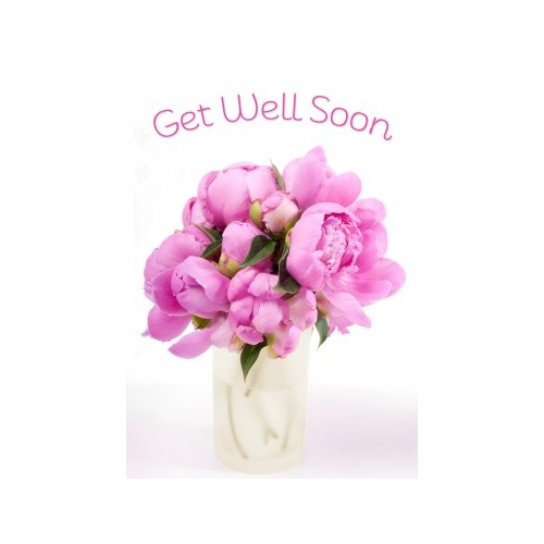 Greeting Card - Get Well Soon - Pink Flowers