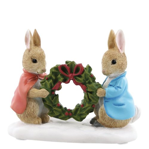 Beatrix Potter Miniature Collection Peter Rabbit and Flopsy Holding Holly Wreath