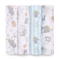 aden & anais Essentials Disney Swaddles 4 Pack - Dumbo New Heights